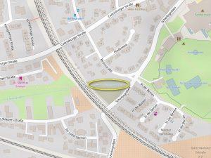 In der Natur nicht mehr sichtbares Stück des Scherbsgrabens (© Powered by OpenRouteService; Map data: © OpenStreetMap contributors)