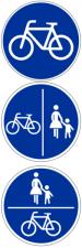 Schilder, die einen benutzungspflichtigen Radweg anzeigen