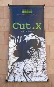 Ausstellungsbanner zu »Cut.X« (Foto: Dr. Michael Müller)