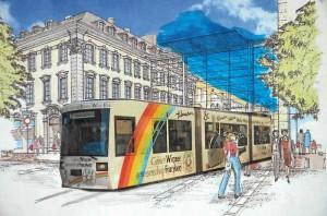 Vision: eine Stadtbahn erschließt 2020 die Station »Fürth-Mitte« (Montage: Werner Schmidt)