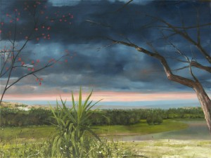 Szilard Huszank: Landschaftscollage Nr. 6, Öl auf Leinwand, 150 x 200 cm, 2009 - 2010