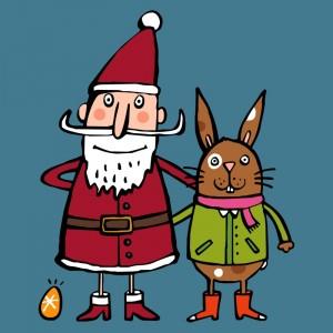 Santa Claus und Osterhase (Illustration: Anja Boretzki)
