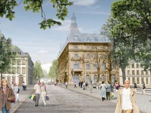 Visualisierung des Vereins »Wir sind Fürth e. V.«: Die »Neue Mitte« mit historischer Fassade des Park-Hotels