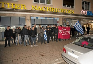 FNS-AktivistInnen bei der Kundgebung in Fürth (Foto: Timo Müller)