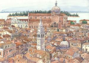 Anton Atzenhofer: Venedig, Blick nach San Michele