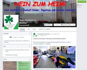Screenshot der Facebook-Seite »Nein zum Heim«