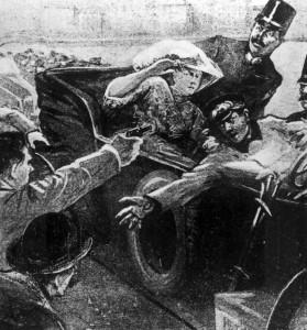 Das Attentat von Sarajewo (Zeichnung: unbekannt)