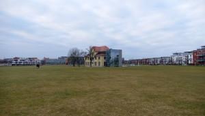Blick über die Grünfläche auf den aktuellen Ausbaustand der WLH (Foto: Christofer Hornstein)