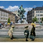 Bahnhofsplatz mit Centaurenbrunnen (Montage: Robert Söllner)