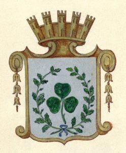 Das von einer Stadtmauer bekrönte Kleeblatt mit Eichenkranz als erstes Fürther Stadtwappen von 1835, Stadtarchiv Fürth, Fach 128/28